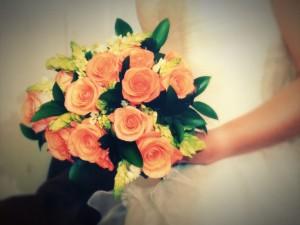 Ramo de novia. Rosas naranjas